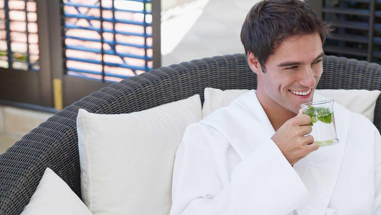 Happy man in spa