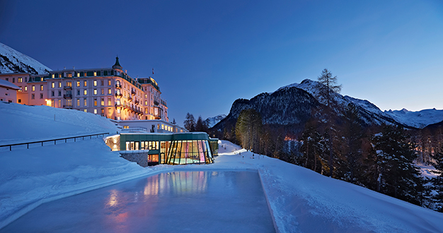 Grand-Hotel-Kronenhof-in-winter-with-its-natural-ice-rink
