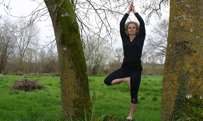 Elaine Vaughan practising yoga