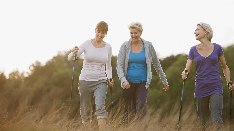 Mature women exercising