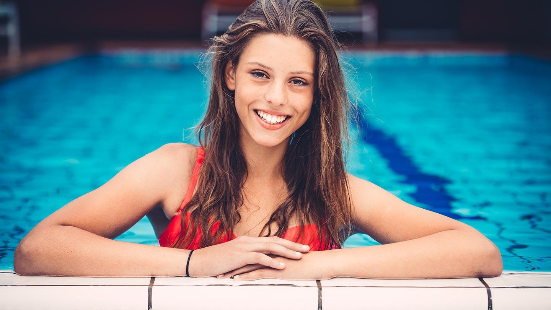 Teenager in pool