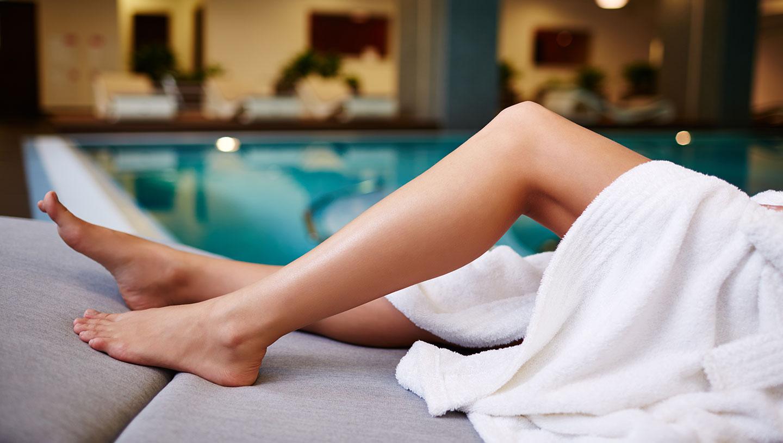 Legs by pool