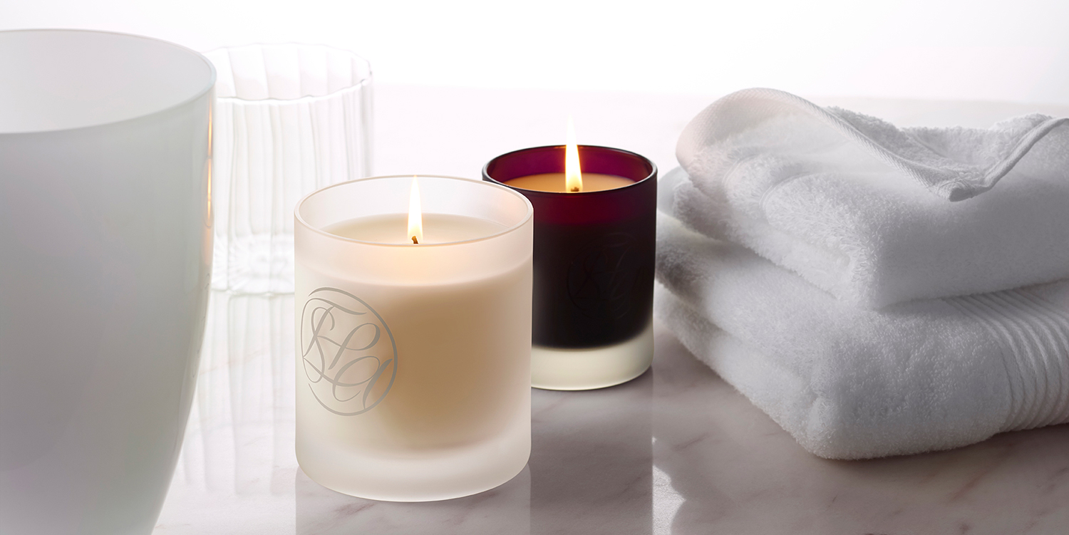 Spa at home - candles and towels