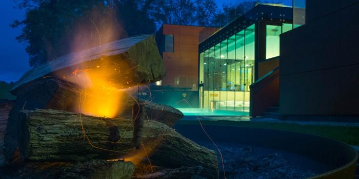 Fire pit at Ockenden Manor spa