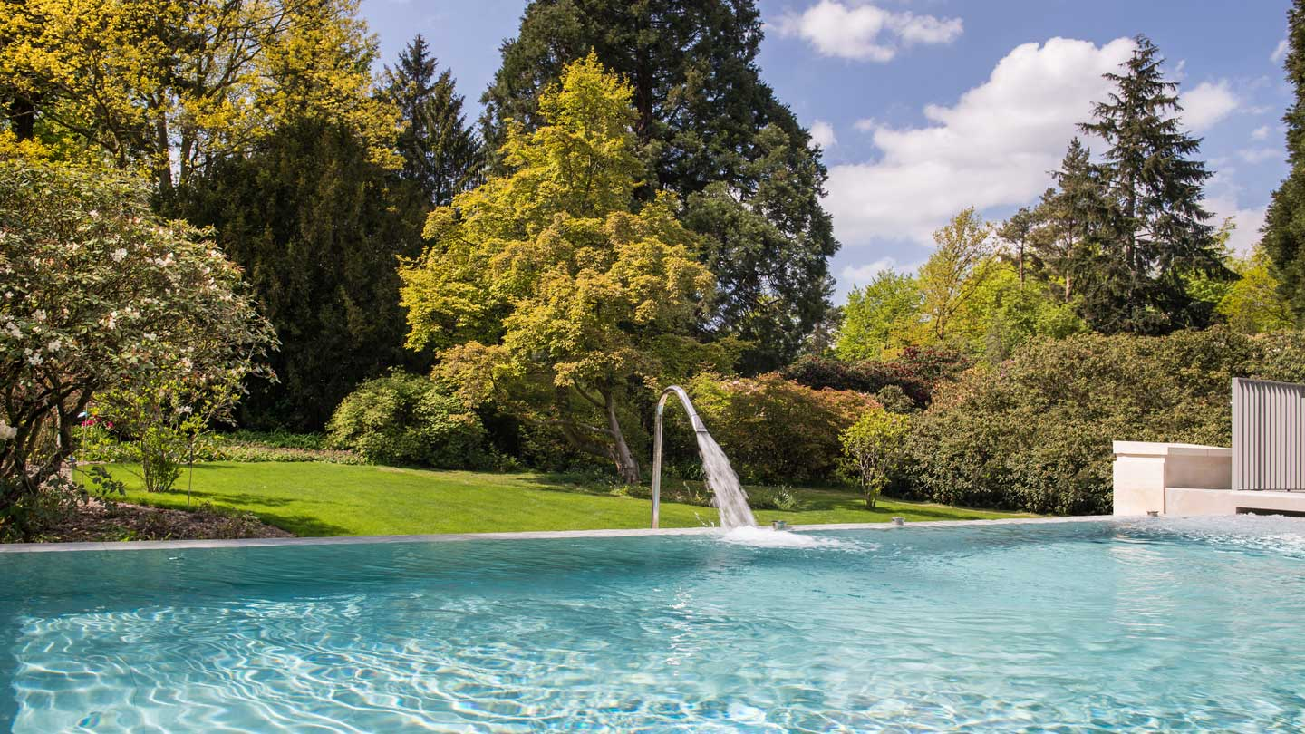 Large luxury pool beside field with trees