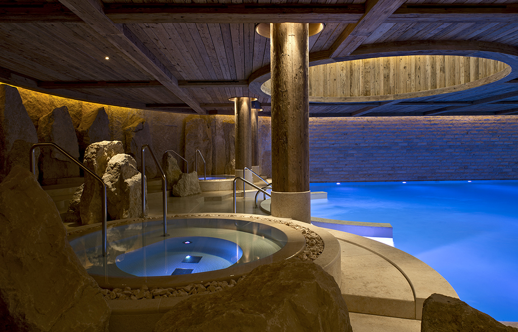 The pool at Alpina Gstaad spa
