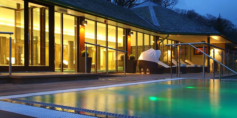 Armathwaite Hall outdoor spa pool at twilight