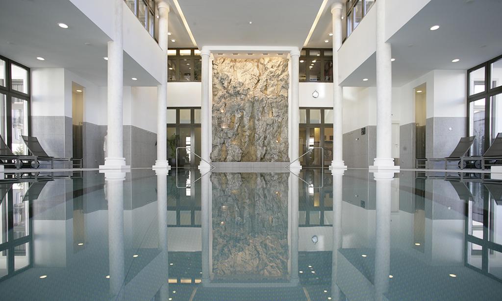 The pool at Kempinski Grand Hotel des Bains