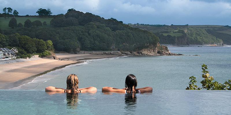 St Brides infinity pool with sea view