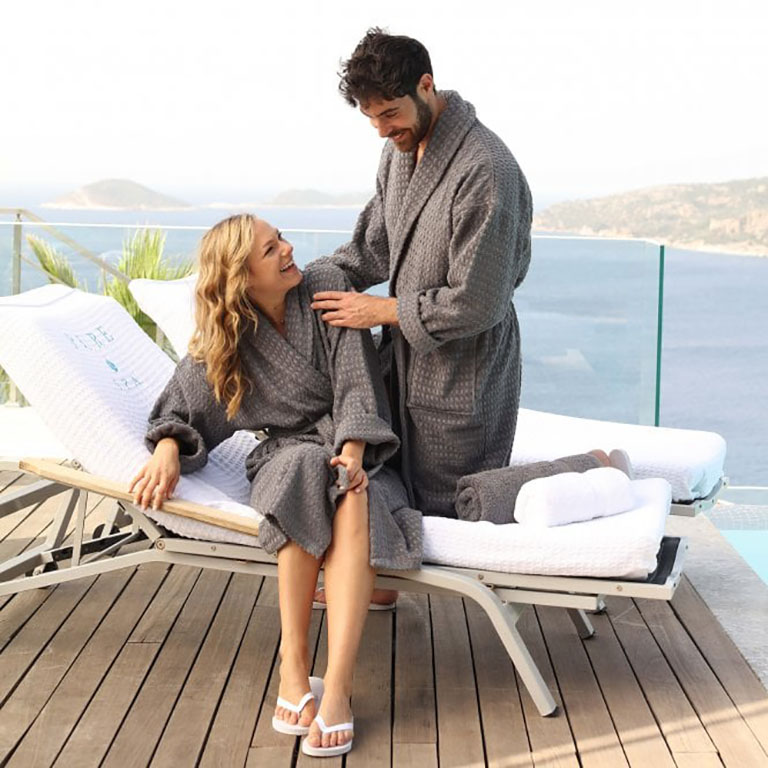 couple at spa wearing robes